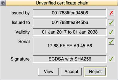 Unverified certificate chain box